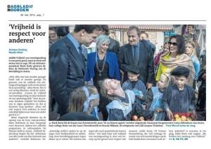 op de voorpagina van het Dagblad van het Noorden met premier Mark Rutte, de burgemeester van assen en burgemeester van Noordenveld Hans van der Laan